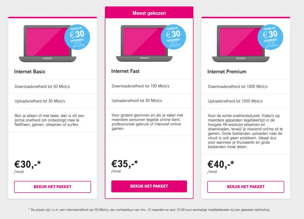 T-mobile thuis internet pakketten
